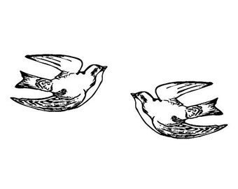 Two Tattoo style Swallows in Flight Rubber Stamp set birds