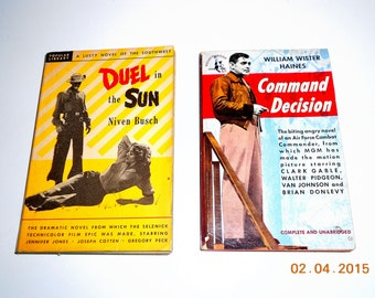 """Vintage 1949 CLARK GABLE """"Command Decision"""" Movie Edition Book & 1947 Gregory Peck - Jennifer Jones """"Duel in the Sun"""" Movie Edition Book"""
