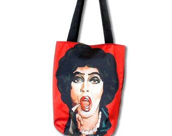 Frank N. Furter illustrated tote bag. Fully lined, superstrong, handmade, and exclusive to ThatAgnes!