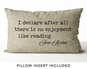 Jane Austen Pillow Literary gifts Pride and Prejudice bookish gifts librarian gifts literary gifts burlap pillow book lover pillow bookworm