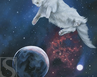 Outer Space Cat Original Oil Painting by Susan Van Sant 14x18 white cat outer space art