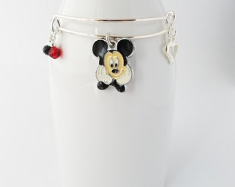 Mickey silver plated bangle bracelet - adult or child size available