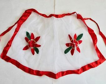 Vintage 1960's Sheer White Netting with Felt Poinsettias Christmas Hostess Apron! Mid Century Christmas!