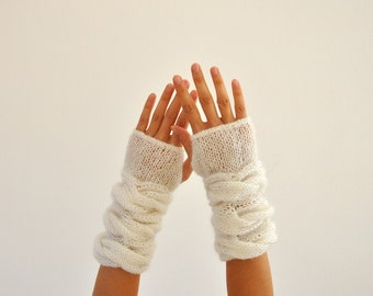 Fingerless Gloves Wrist Warmers White Mohair Soft Warm Cozy Winter Accessories Winter Fashion Chic Elegant