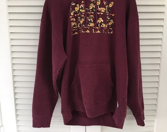 Vintage Maroon and Floral Daily Bread Hoodie Size Large