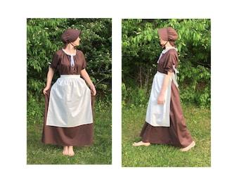 Size XL Complete Outfit - Womens Pioneer Trek Colonial Frontier Prairie Pilgrims Renaissance Reenactment Civil War Dress Costume Adult Size