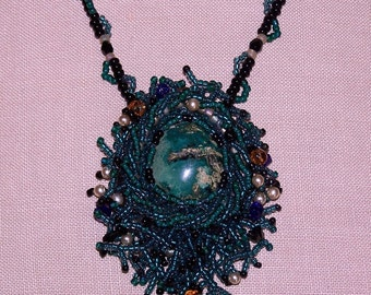 Cabachon, Seed Beads Antique Inspired OOAK Necklace - Mermaid's Treasure - Blue Green Bottom of the Sea