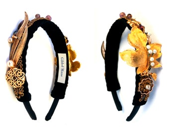 GILDED-MANE HEADBAND : Gilded Headpiece featuring Reclaimed Vintage Jewelry