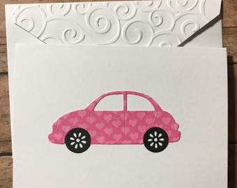 Retro Volkswagen Card, Love Bug VW Card, Stationery Set, Greeting Card, Blank Note Cards and Envelopes, Valentine's Cards, Car Note Card