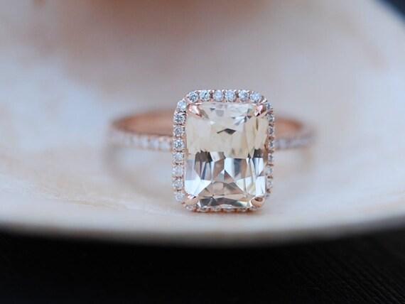 Champagne Engagement Ring. Emerald cut sapphire ring. 14k rose gold diamond ring 2.15ct sapphire engagement ring by Eidelprecious