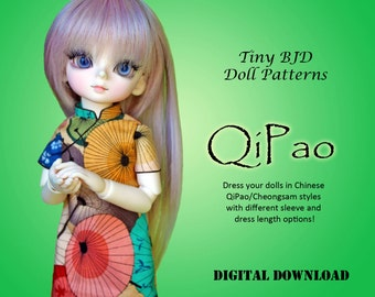QiPao Cheongsam Chinese dress clothes pattern for 27cm Tiny BJD: YoSD Little Fee Honey Delf & similar sized dolls