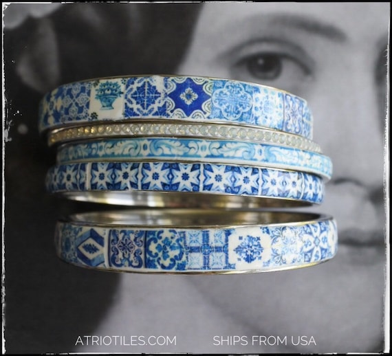 Bangles Bracelets STAINLESS STEEL Set Portugal Tile Border Blue Azulejo -  Set of 5 - Valentines Day Size 8 - Ships from USA
