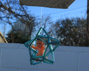 ONE OF A KIND! Baby in a star cage earrings - customisable *email*
