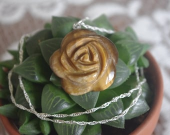 Sterling silver and Tiger's Eye Rose Necklace // Anniversary Gifts // Gifts for Her // Birthday Gifts // Christmas Gifts