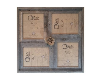 """8x10 -2"""" wide Multi-Direction Rustic Barn Wood Collage Frame(Holds 4-8x10 Pictures)"""
