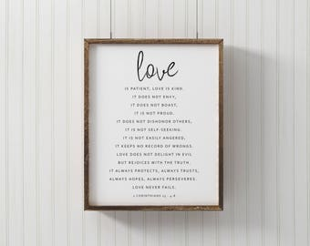 Gift For Her - Love Is Kind Print - Bible Verse Print - 1st Corinthians 13 Print - Bible Verse Sign - Scripture Signs - Modern Farmhouse