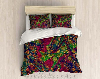 Green Red Duvet Cover, Floral Duvet Cover or Comforter, Floral Bedding Set with Pillow Shams, Bohemian Bedding, King Bedding, Queen Bedding