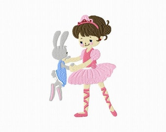 Embroidery of a ballerina with a rabbit for machine embroidery format 5 x 7