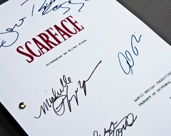 Scarface Film Movie Script with Signatures / Autographs Reprint Unique Gift Christmas Xmas Present TV Fan Geek Mafia Mobster 80s 90s