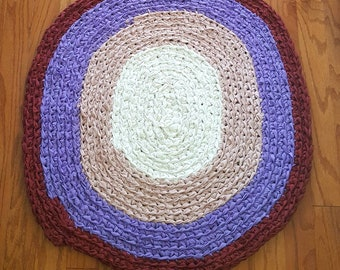 Pink purple red white rag rug crochet large handmade thick  floor covering