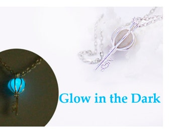 blue key necklace glow in the dark sky blue jewelry wife gift for friend aqua romantic necklace love cute  Ся08a