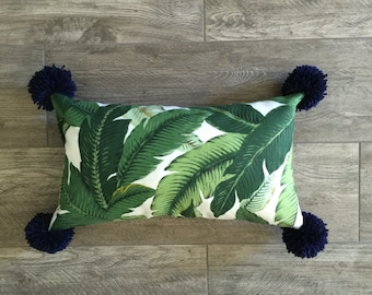 Outdoor Indoor Banana Leaf Pam Lumbar Pillow Cover with Pom Poms