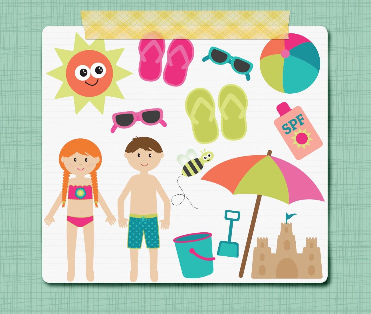 Summer Clip Art Graphics Swim Pool Little Kid Clipart