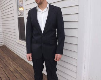 70s Mens Blue Pinstripe Suit Vintage Wedding Formal 39 L