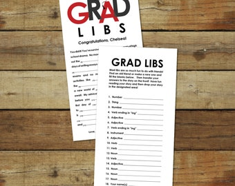 Grad Libs - Red abd black Graduation mad lib advice cards, open house graduation party activity, printable instant download, editable