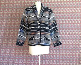 80s vintage woven cotton southwestern vibes jacket coat// medium