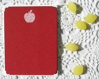 Apple Red Recycled Stationery, Teacher Gift, Thank You Cards, Back to School, Blank, Personalized Custom Gift