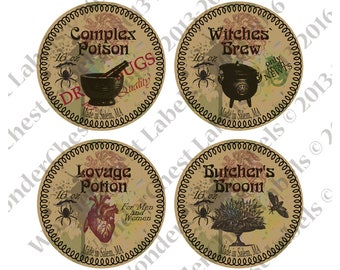 "Witchcraft Potions labels set Party circles 4"" Craft Halloween printables, Witches Brew, Magic Poisons, Cake Topper digital instant download"