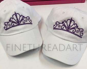 Ready to Ship Princess Tiara Crown Queen Adult Baseball Hat Cap Purple and White Princess Ladies Women