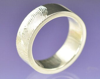 Personalised Fingerprint Ring. Custom wedding ring. Your print hand engraved on a 5mm wide 18k white gold ring.