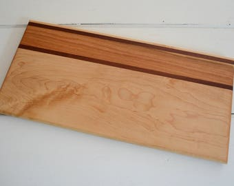 Wood Cheese Board Serving Tray Handmade with Maple Sapele Cherry Walnut Wood Kitchen Utensil Cutting