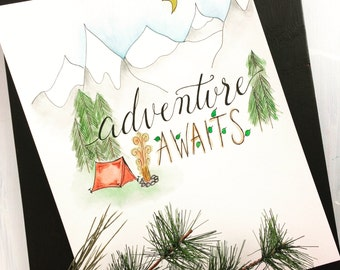 Adventure awaits - original watercolor painting & handlettered art