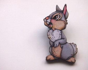 Thumber - Bambi Laser Cut Wood Brooch