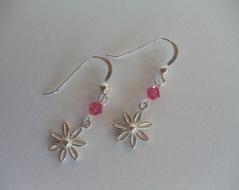 Sterling Flower Earrings With Swarovski Crystals For Women For Young Girl Dainty Earrings