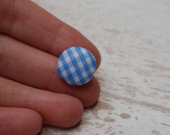 """Set of 21 buttons acrylic and fabric gingham """"1trou"""" (H72)"""