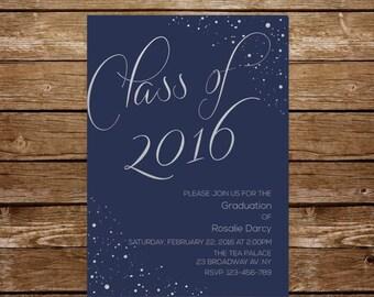 grad party invitation graduation invitation navy and silver invitation high school grad invitation university grad invitations printable