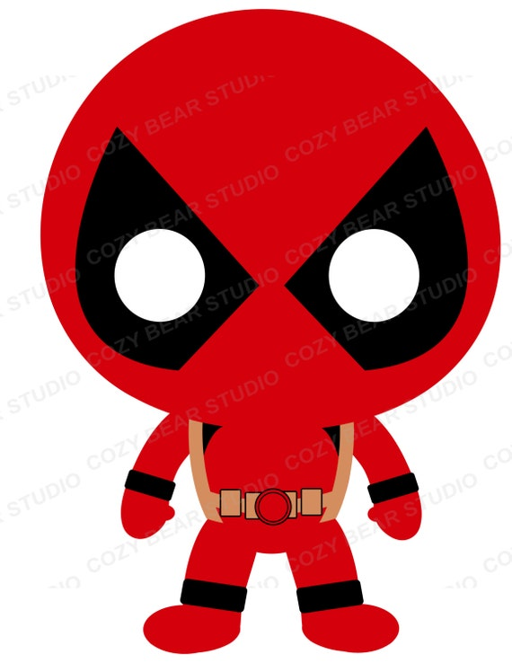 superhero clip art batman deadpool iron man robin rh etsy com deadpool face clip art Deadpool Clip Art Black and White