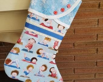 Christmas Stocking with Yoga Print