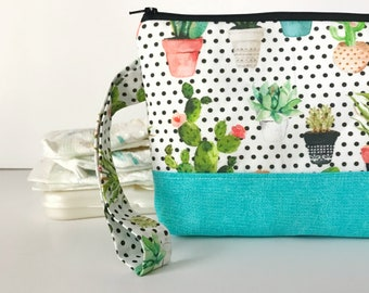 diaper and wipes clutch -- dotted succulent