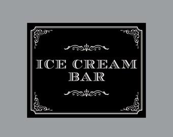 DIY Printable Sign -  Vintage Antique Victorian Cottage Chic Rustic Chalkboard Wedding Reception Ice Cream Bar Sign