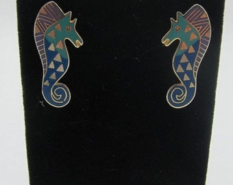 "ON SALE Signed Laurel Burch Gold Tone Stud Cloisonne Earrings ""Sea Stallion"""
