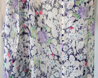 Vintage Silk organza fabric w blue abstract floral