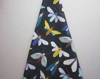 Tea towel, dark moths pattern