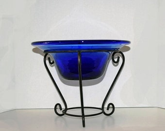 Memorial Day Sale Hand Blown Royal Blue Glass Hat Shaped Bowl With Wrought Iron Stand.
