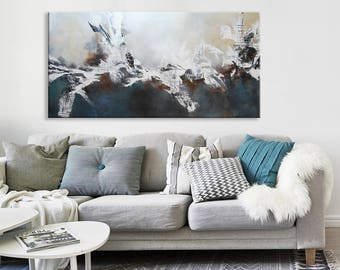 Gray Blue abstract original Painting, Blue abstract painting, navy blue painting, gray abstract landscape painting, original painting
