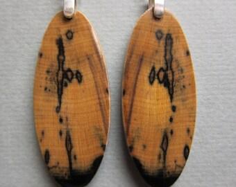 Black and White Ebony Exotic Wood Long Dangle Earrings Handmade ExoticwoodJewelryAnd ecofriendly repurposed